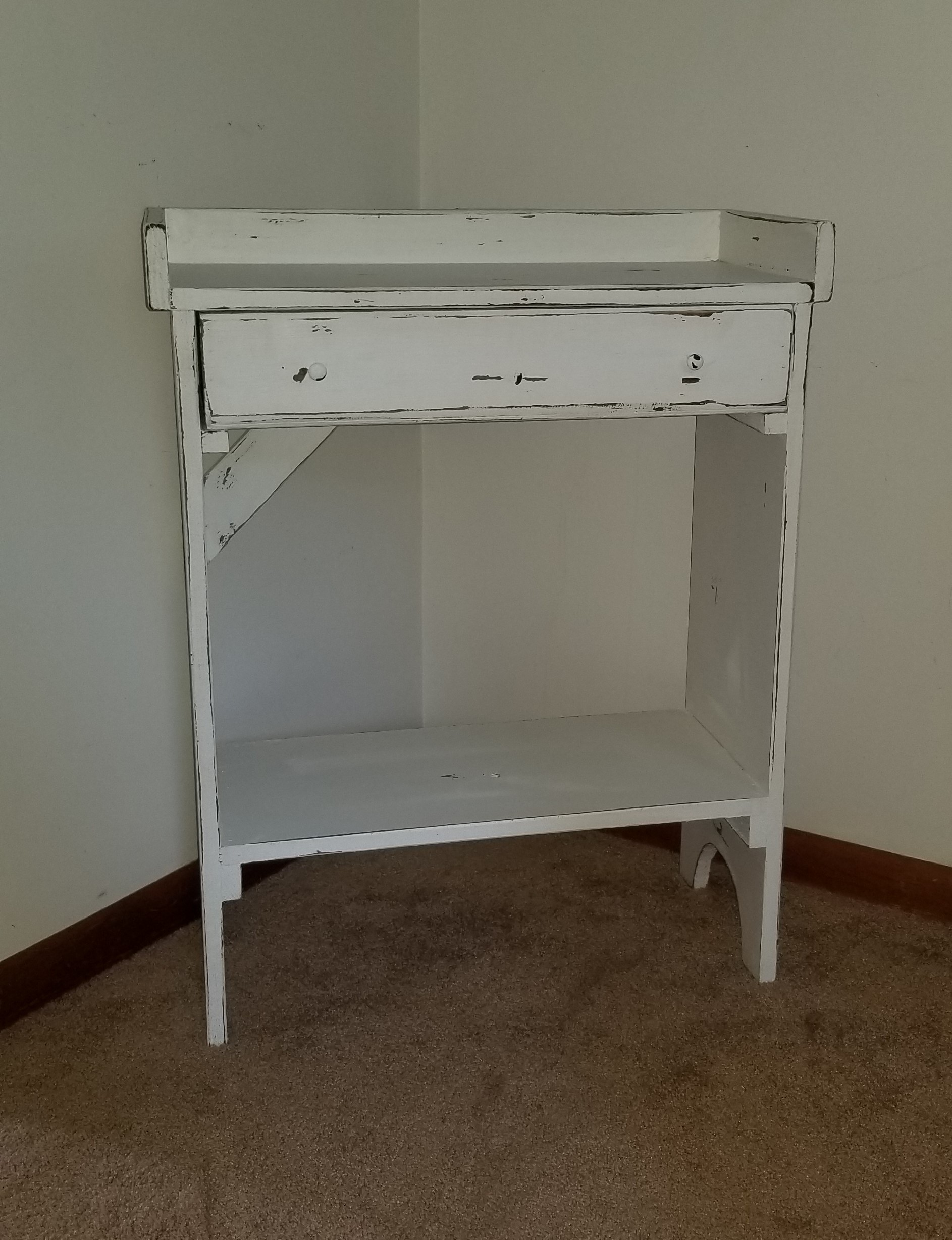 Accent Table With Draw Dry Sink Decorative Shelf