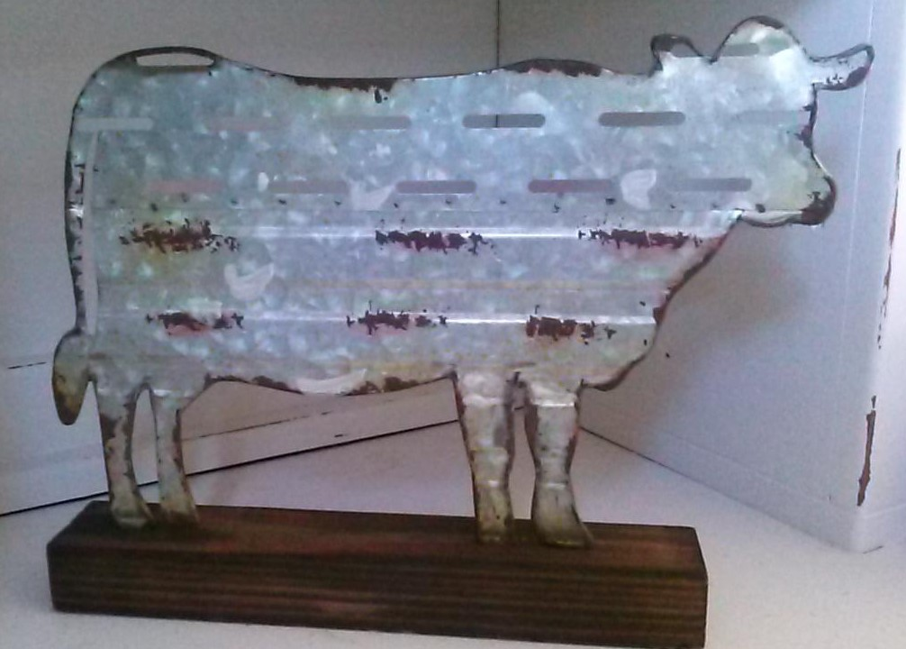 Metal Cow with wood base