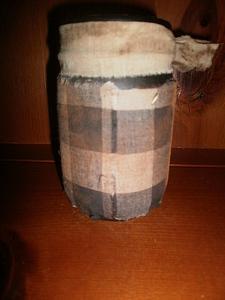 Pantry Jar / with plaid fabric